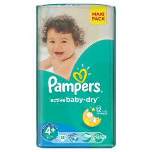 PAMPERS Active Baby 4+ Maxi 4-16kg 53szt - pampersy
