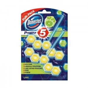 DOMESTOS Power5 Duo Lime 2x55g - kostka toaletowa